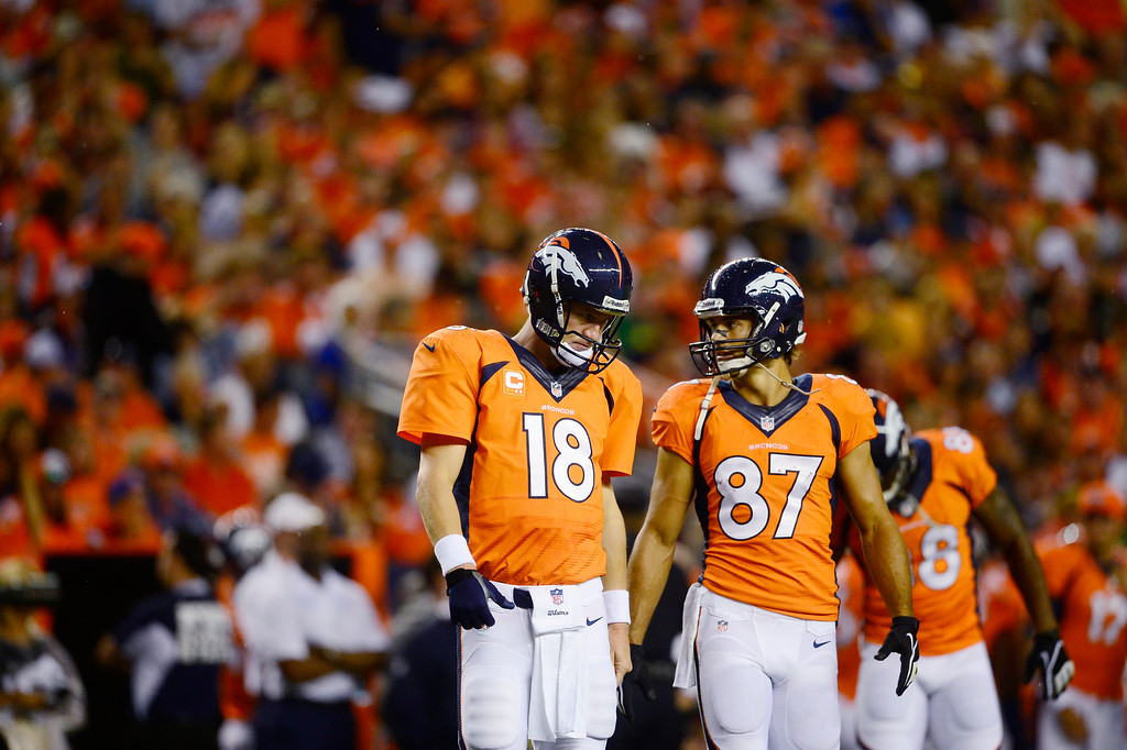 Description of . Denver Broncos quarterback Peyton Manning (18) and Denver Broncos wide receiver Eric Decker (87) talk on the field.  (Photo by AAron Ontiveroz/The Denver Post)