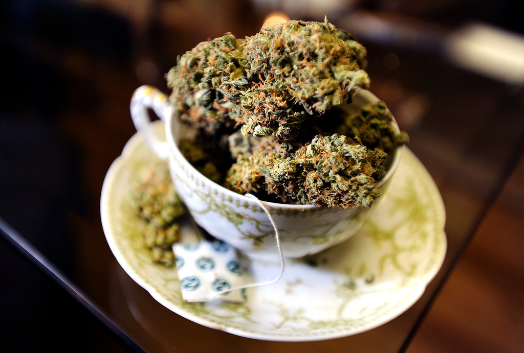 Description of . A tea cup full of marijuana on Wednesday, Jan. 2, at The Hive Co-Op Cannabis Club in Lafayette. Jeremy Papasso/Boulder Daily Camera