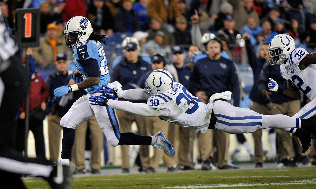 Description of . Chris Johnson #28 of the Tennessee Titans rushes against LaRon Landry #30 of the Indianapolis Colts at LP Field on November 14, 2013 in Nashville, Tennessee.  (Photo by Frederick Breedon/Getty Images)