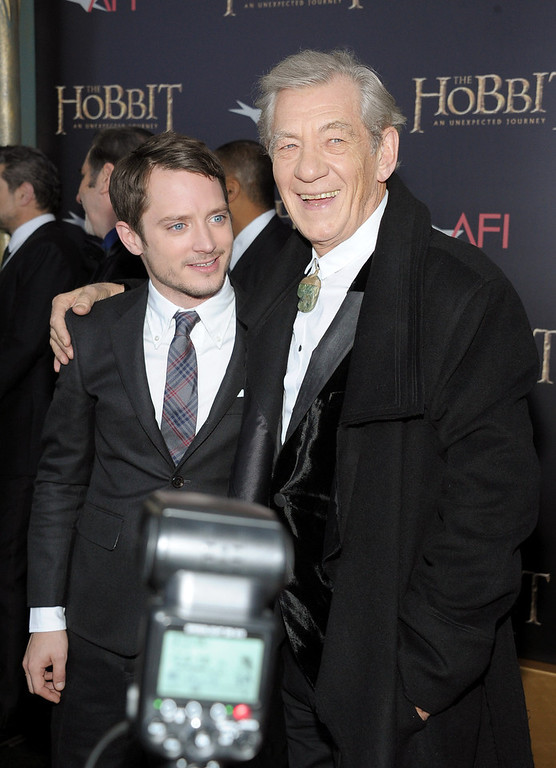 "Description of . Elijah Wood (L) and Sir Ian McKellen attend ""The Hobbit: An Unexpected Journey\"" New York premiere benefiting AFI at Ziegfeld Theater on December 6, 2012 in New York City.  (Photo by Michael Loccisano/Getty Images)"