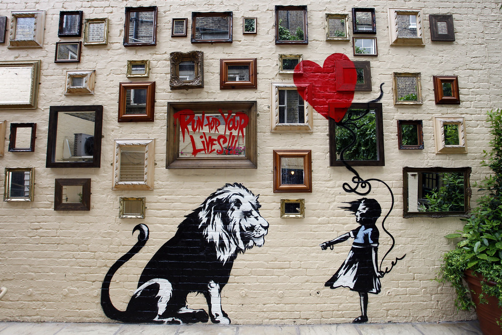 Description of . New Banksy Mural at The Princess of Wales Pub in Primrose Hill on June 14, 2010 in London, England. (Photo by Neil Mockford/Getty Images)