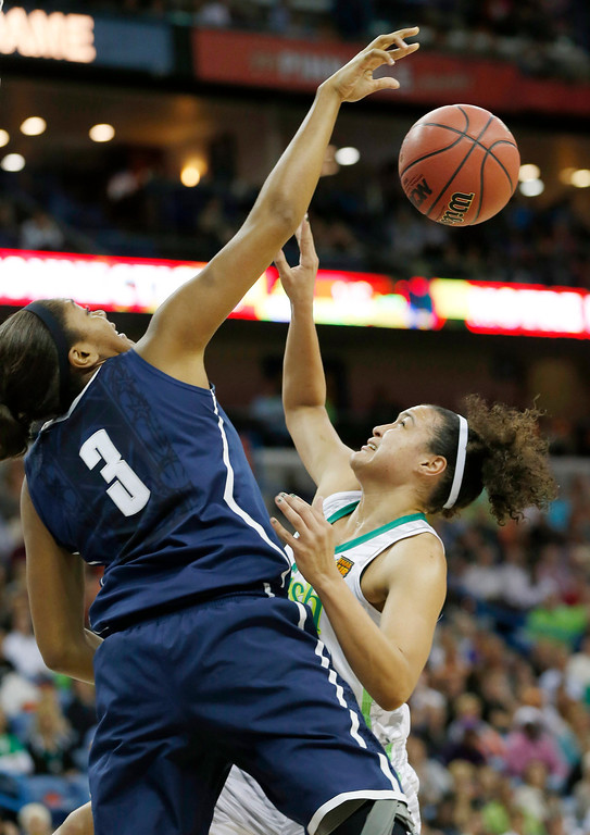 Description of . Connecticut forward Morgan Tuck (3) blocks a shot by Notre Dame guard Kayla McBride (21) in the first half of the women\'s NCAA Final Four college basketball tournament semifinal, Sunday, April 7, 2013, in New Orleans. (AP Photo/Dave Martin)