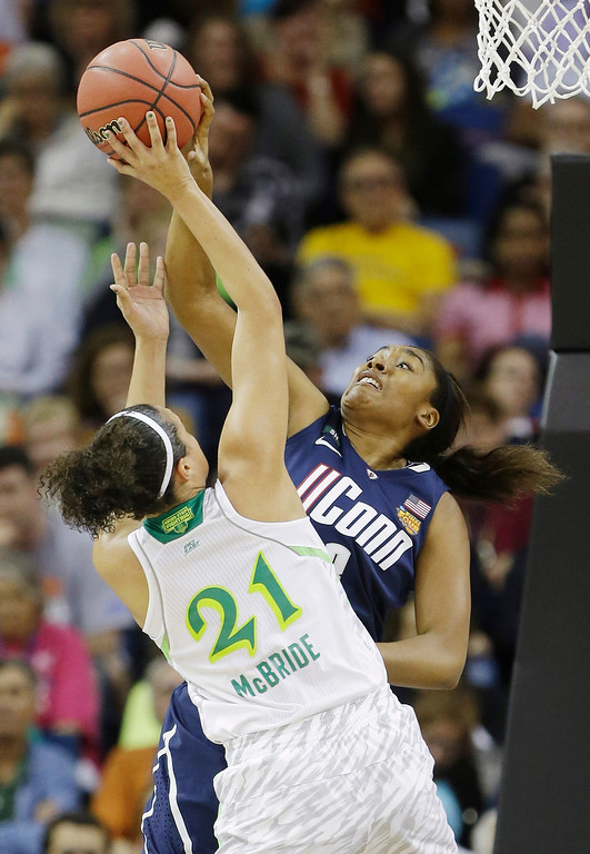Description of . Connecticut forward Morgan Tuck (3) blocks a shot by Notre Dame guard Kayla McBride (21) in the first half of the women\'s NCAA Final Four college basketball tournament semifinal, Sunday, April 7, 2013, in New Orleans. (AP Photo/Gerald Herbert)