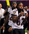 Baltimore Ravens wide receiver Jacoby Jones (12) and Torrey Smith (82) arrive for Media Day for the NFL's Super Bowl XLVII in New Orleans, Louisiana January 29, 2013. The San Francisco 49ers will meet the Ravens in the game on February 3. REUTERS/Sean Gardner