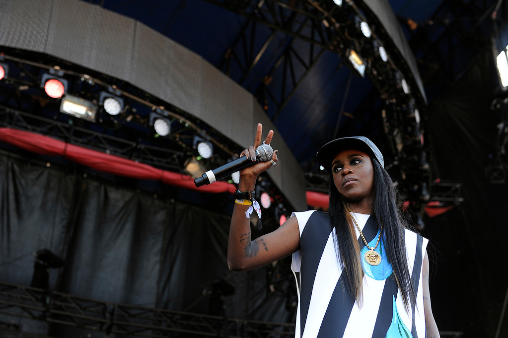 Description of . Angel Haze performs during Lollapalooza at Grant Park on August 4, 2013 in Chicago, Illinois. (Photo by Seth McConnell/The Denver Post)