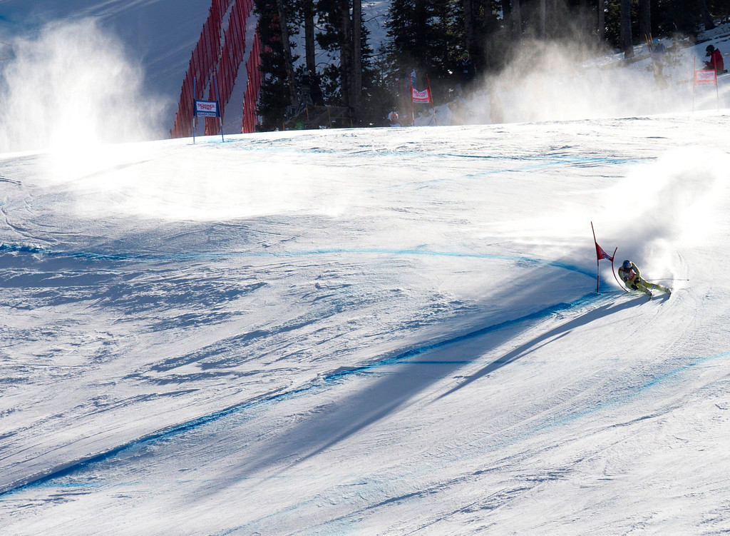 Description of . Aksel Lund Svindal of Norway carves past a gate to take second place in the FIS Alpine World Cup men\'s Super G on December 1, 2012 in Beaver Creek, Colorado.     DON EMMERT/AFP/Getty Images