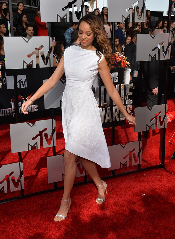 Description of . Actress Amber Stevens attends the 2014 MTV Movie Awards at Nokia Theatre L.A. Live on April 13, 2014 in Los Angeles, California.  (Photo by Michael Buckner/Getty Images)