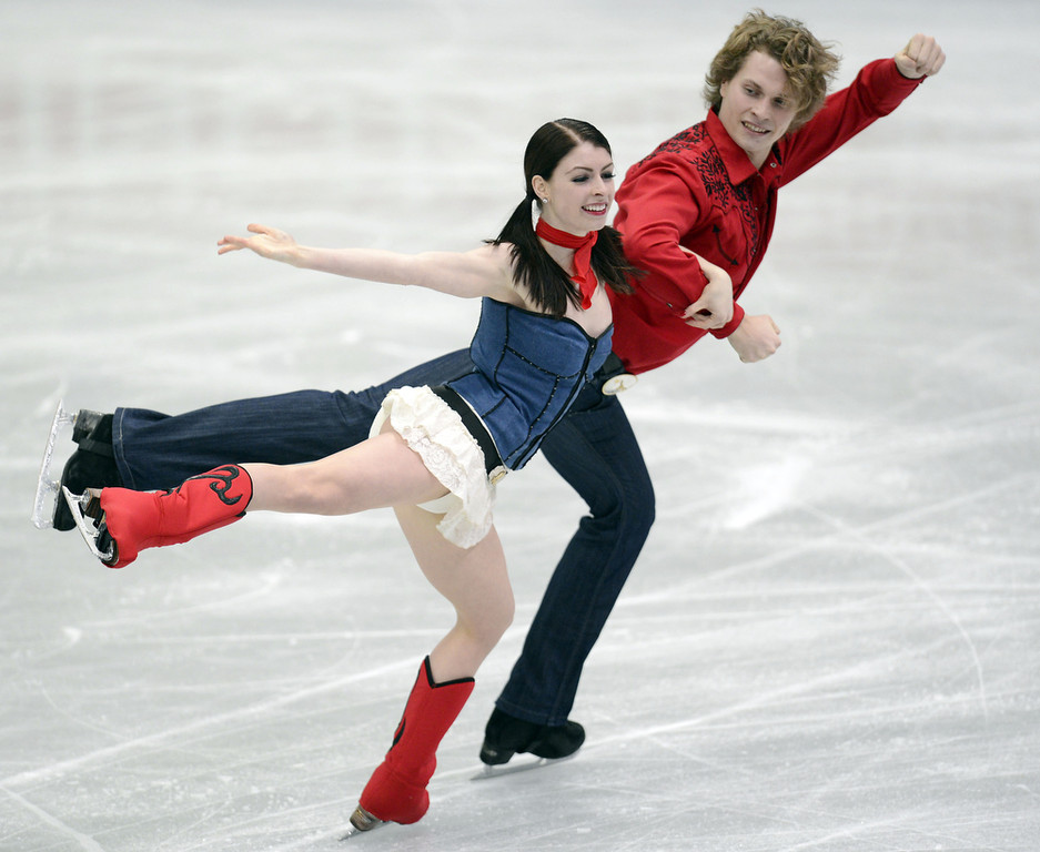Description of . Nicole Orford and Thomas Williams of Canada skate in the Ice Dance Short Dance during day one of the ISU Four Continents Figure Skating Championships at Osaka Municipal Central Gymnasium on February 8, 2013 in Osaka, Japan.  (Photo by Atsushi Tomura/Getty Images)