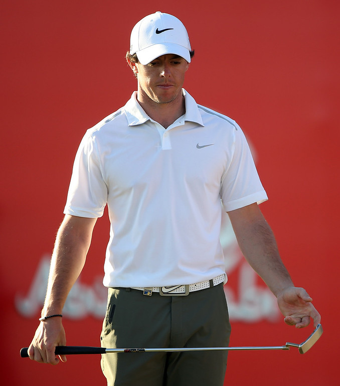 Description of . Rory McIlroy of Northern Ireland during the second round of the Abu Dhabi HSBC Golf Championship at the Abu Dhabi Golf Club on January 18, 2013 in Abu Dhabi, United Arab Emirates.  (Photo by Ross Kinnaird/Getty Images)