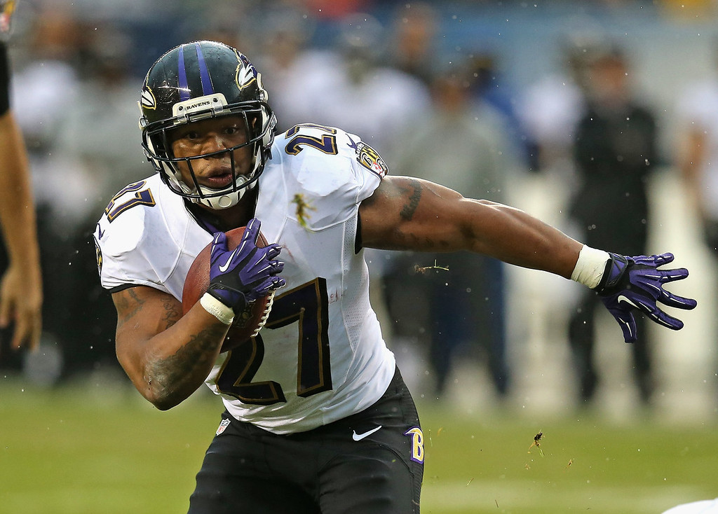 Description of . Ray Rice #27 of the Baltimore Ravens runs for a touchdown against the Chicago Bears at Soldier Field on November 17, 2013 in Chicago, Illinois. (Photo by Jonathan Daniel/Getty Images)