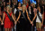 (L-R) Alyssa Murray, Miss Delaware, Allyn Rose, Miss District of Columbia and Leighton Jordan, Miss Georgia hold hands during the 2013 Miss America Pageant at PH Live at Planet Hollywood Resort & Casino on January 12, 2013 in Las Vegas, Nevada.  (Photo by David Becker/Getty Images)