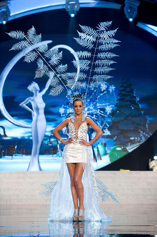 Description of . Miss New Zealand Talia Bennett performs onstage at the 2012 Miss Universe National Costume Show at PH Live in Las Vegas, Nevada December 14, 2012. The 89 Miss Universe Contestants will compete for the Diamond Nexus Crown on December 19, 2012. REUTERS/Darren Decker/Miss Universe Organization/Handout
