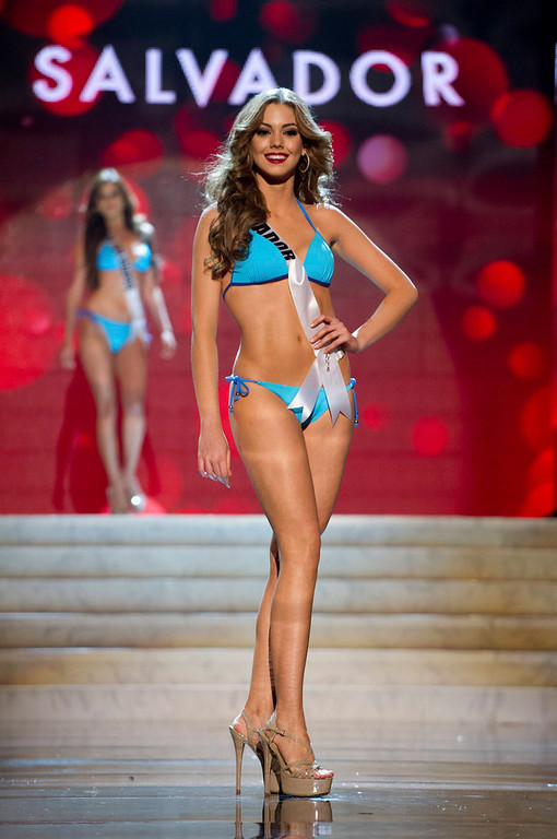 Description of . Miss Ecuador 2012 Carolina Andrea Aguirre Perez competes during the Swimsuit Competition of the 2012 Miss Universe Presentation Show at PH Live in Las Vegas, Nevada December 13, 2012. The Miss Universe 2012 pageant will be held on December 19 at the Planet Hollywood Resort and Casino in Las Vegas. REUTERS/Darren Decker/Miss Universe Organization L.P/Handout