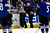 DENVER, CO. - FEBRUARY 4: Referee Chris Rooney skates off the ice after being struck by a puck during the first period of action. Colorado Avalanche versus the Dallas Stars at the Pepsi Center on February 4, 2012. (Photo By AAron Ontiveroz/The Denver Post)