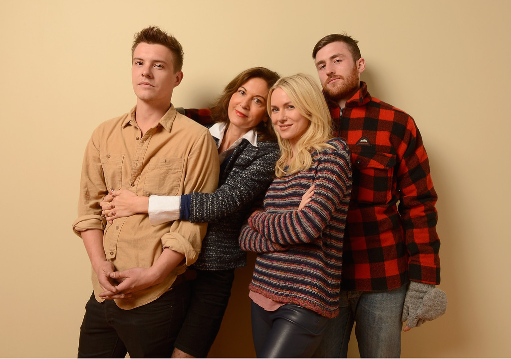 Description of . (L-R) Actor Xavier Samuel, director Anne Fontaine, actress Naomi Watts and actor James Frecheville pose for a portrait during the 2013 Sundance Film Festival at the Getty Images Portrait Studio at Village at the Lift on January 18, 2013 in Park City, Utah.  (Photo by Larry Busacca/Getty Images)