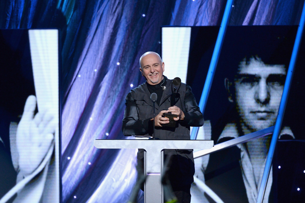Description of . Inductee Peter Gabriel speaks onstage at the 29th Annual Rock And Roll Hall Of Fame Induction Ceremony at Barclays Center of Brooklyn on April 10, 2014 in New York City.  (Photo by Larry Busacca/Getty Images)