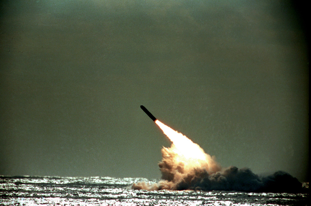 Description of . This Dec. 4, 1989 file photo shows the launch of a Trident II, D-5 missile from the submerged USS Tennessee submarine in the Atlantic Ocean off the coast of Florida. As of mid-2010, 12 operational U.S. nuclear-missile submarines carry a total of 288 Trident missiles.  (AP Photo/Phil Sandlin)