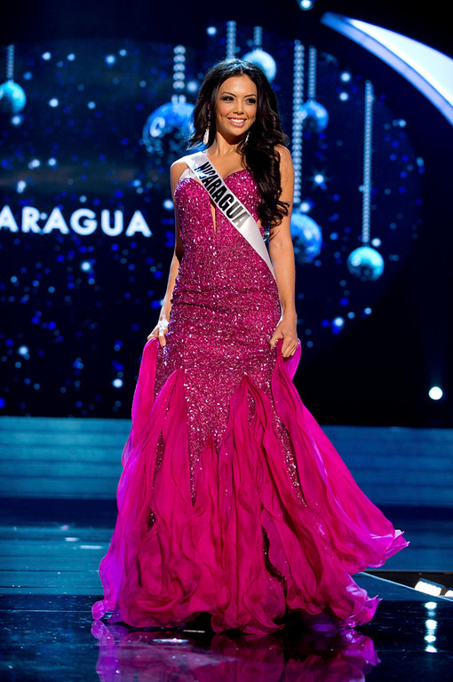 Description of . Miss Nicaragua 2012 Farah Eslaquit Cano competes in an evening gown of her choice during the Evening Gown Competition of the 2012 Miss Universe Presentation Show in Las Vegas, Nevada, December 13, 2012. The Miss Universe 2012 pageant will be held on December 19 at the Planet Hollywood Resort and Casino in Las Vegas. REUTERS/Darren Decker/Miss Universe Organization L.P/Handout