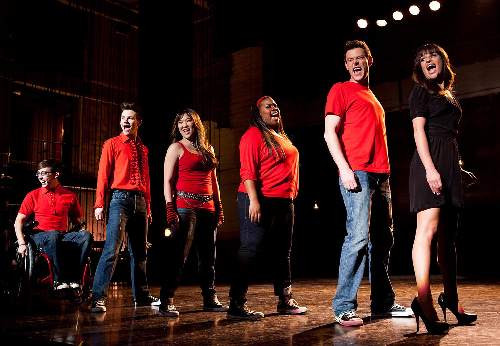 Description of . In this image released by Fox, cast members, from left, Kevin McHale, Chris Colfer, Jenna Ushkowitz, Amber Riley, Cory Monteith and Lea Michele perform during a scene from