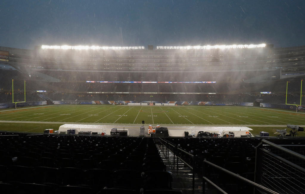 Description of . Heavy rain falls as play was suspended during the first half of an NFL football game between the Chicago Bears and Baltimore Ravens, Sunday, Nov. 17, 2013, in Chicago. (AP Photo/Nam Y. Huh)
