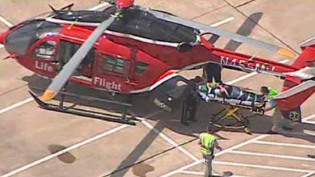 Description of . A wounded person is evacuated by helicopter following a mass stabbing at the Cy-Fair campus of Lone Star College in northwest Houston, as seen in this still image from video courtesy of KPRC-TV April 9, 2013.   REUTERS/KPRC-TV