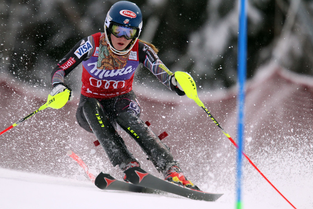 Description of . Mikaela Shiffrin of the USA takes 1st place during the Audi FIS Alpine Ski World Cup Women's Slalom on January 05, 2014 in Bormio, Italy. (Photo by Christophe Pallot/Agence Zoom/Getty Images)