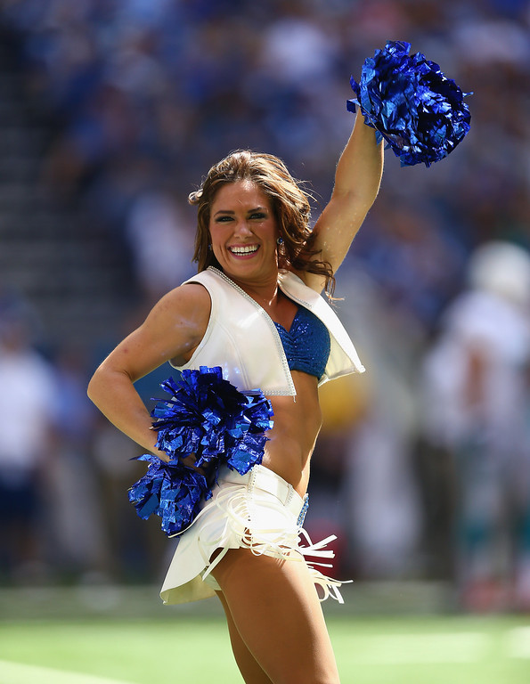 Description of . Indianapolis Colts cheerleaders perform during the NFL game against the Miami Dolphins at Lucas Oil Stadium on September 15, 2013 in Indianapolis, Indiana.  (Photo by Andy Lyons/Getty Images)