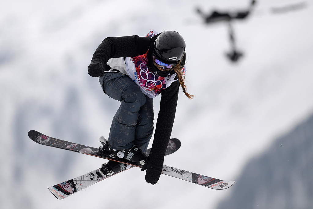 Description of . Germany\'s Lisa Zimmermann makes a grab during the women\'s ski slopestyle qualifier. Sochi 2014 Winter Olympics on Tuesday, February 11, 2014. (Photo by AAron Ontiveroz/The Denver Post)