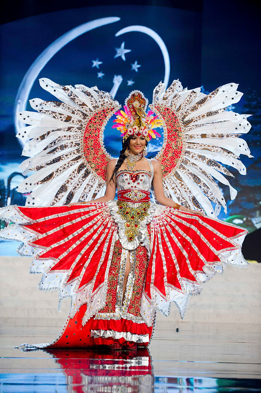Description of . Miss Indonesia Maria Selena performs onstage at the 2012 Miss Universe National Costume Show at PH Live in Las Vegas, Nevada December 14, 2012. The 89 Miss Universe Contestants will compete for the Diamond Nexus Crown on December 19, 2012. REUTERS/Darren Decker/Miss Universe Organization/Handout