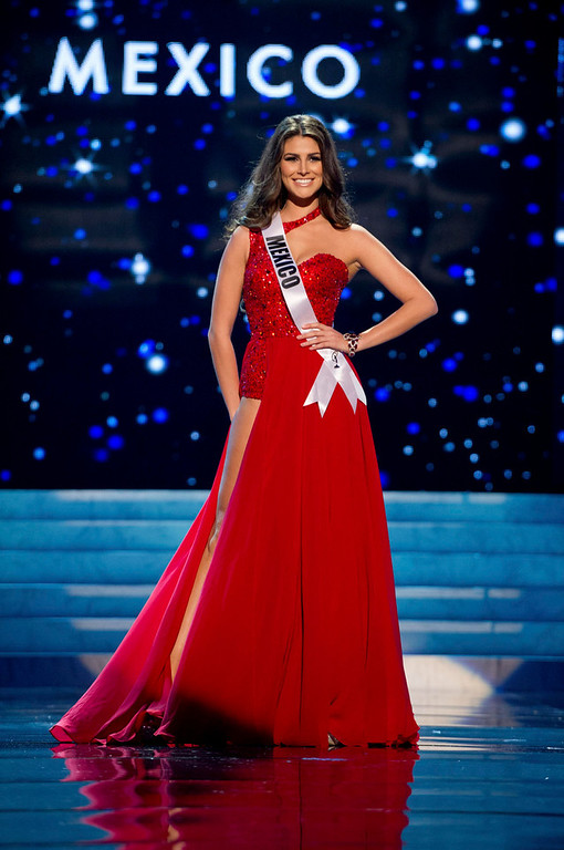 Description of . Miss Mexico 2012 Karina Gonzalez competes in an evening gown of her choice during the Evening Gown Competition of the 2012 Miss Universe Presentation Show in Las Vegas, Nevada, December 13, 2012. The Miss Universe 2012 pageant will be held on December 19 at the Planet Hollywood Resort and Casino in Las Vegas. REUTERS/Darren Decker/Miss Universe Organization L.P/Handout