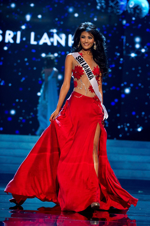 Description of . Miss Sri Lanka 2012 Sabrina Herft competes in an evening gown of her choice during the Evening Gown Competition of the 2012 Miss Universe Presentation Show in Las Vegas, Nevada, December 13, 2012. The Miss Universe 2012 pageant will be held on December 19 at the Planet Hollywood Resort and Casino in Las Vegas. REUTERS/Darren Decker/Miss Universe Organization L.P/Handout