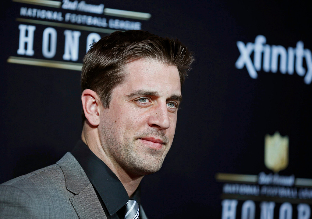 Description of . Green Bay Packers quarterback Aaron Rodgers arrives at the 2nd Annual NFL Honors in New Orleans, Louisiana, February 2, 2013. The San Francisco 49ers will meet the Baltimore Ravens in the NFL Super Bowl XLVII football game February 3.  REUTERS/Lucy Nicholson