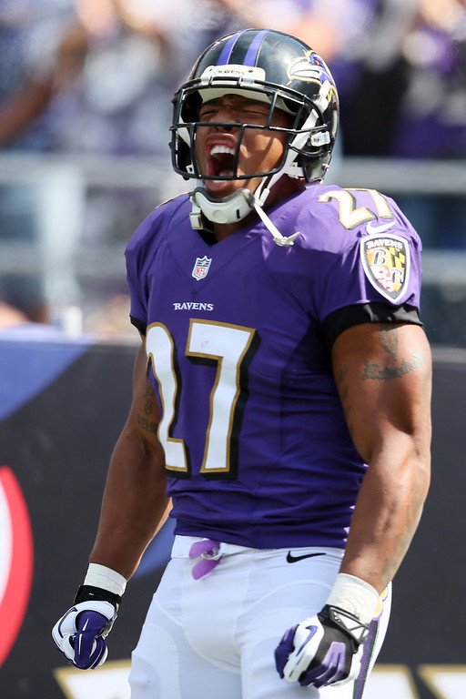 . Running back Ray Rice #27 of the Baltimore Ravens is introduced before the start of the Ravens and Cleveland Browns game at M&T Bank Stadium on September 15, 2013 in Baltimore, Maryland.  (Photo by Rob Carr/Getty Images)
