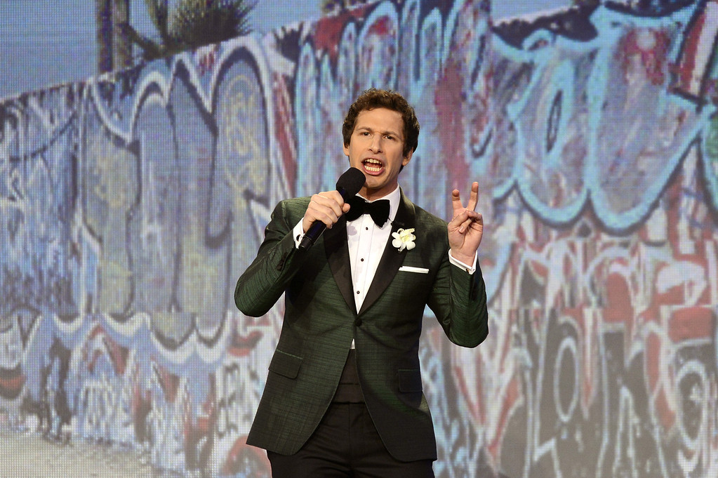 Description of . SANTA MONICA, CA - FEBRUARY 23:  Host Andy Samberg onstage during the 2013 Film Independent Spirit Awards at Santa Monica Beach on February 23, 2013 in Santa Monica, California.  (Photo by Kevork Djansezian/Getty Images)