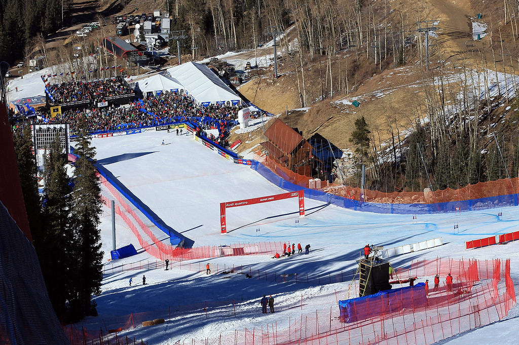 Description of . A general view of the finish area during the men\'s Super G on the Birds of Prey at the Audi FIS World Cup on December 1, 2012 in Beaver Creek, Colorado.  (Photo by Doug Pensinger/Getty Images)
