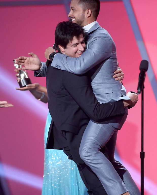 Description of . Actor Ken Marino accepts the award for Best Comedy Series from presenter Jai Rodriguez onstage at the 3rd Annual Streamy Awards at Hollywood Palladium on February 17, 2013 in Hollywood, California.  (Photo by Frederick M. Brown/Getty Images)