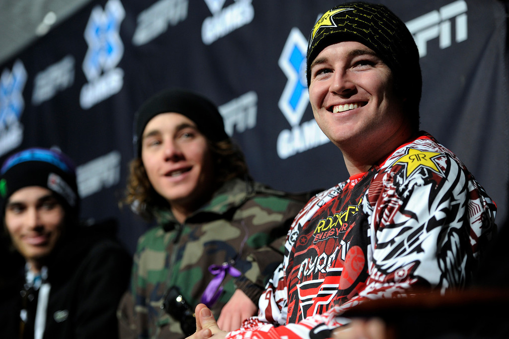 Description of . Snowmobile Freestyle Caleb Moore smiles during the opening Winter X Games 2012 press conference at Buttermilk Mountain in Aspen on Wednesday, January 25. AAron Ontiveroz, The Denver Post