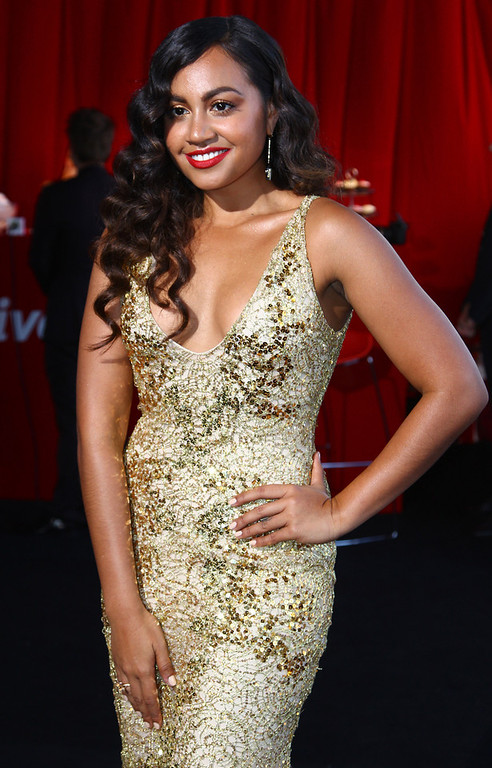 Description of . Australian R & B singer Jessica Mauboy arrives for the Australian music industry Aria Awards in Sydney, Thursday, Nov. 29, 2012. (AP Photo/Rick Rycroft)