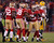 San Francisco 49ers Tarrell Brown (2nd R) celebrates with teammates Carlos Rogers (R), Patrick Willis (L) and Dashon Goldson (2nd L) after intercepting a pass against the Green Bay Packers in the second quarter during their NFL NFC Divisional playoff football game in San Francisco, California, January 12, 2013.   REUTERS/Robert Galbraith