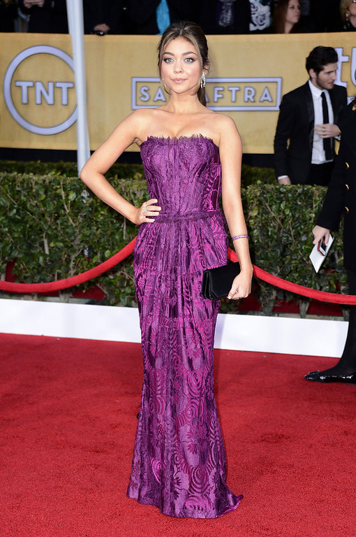 . Actress Sarah Hyland arrives at the 19th Annual Screen Actors Guild Awards held at The Shrine Auditorium on January 27, 2013 in Los Angeles, California.  (Photo by Frazer Harrison/Getty Images)