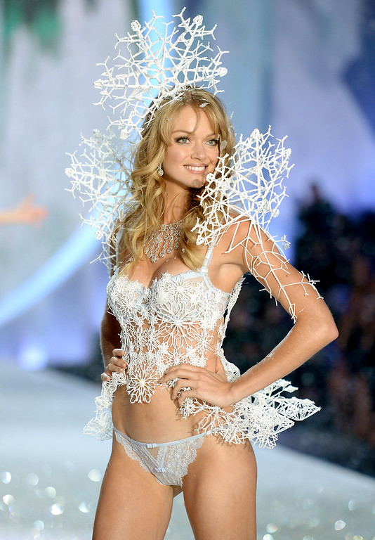 Description of . Model Lindsay Ellingson walks the runway at the 2013 Victoria's Secret Fashion Show at Lexington Avenue Armory on November 13, 2013 in New York City.  (Photo by Dimitrios Kambouris/Getty Images for Victoria's Secret)