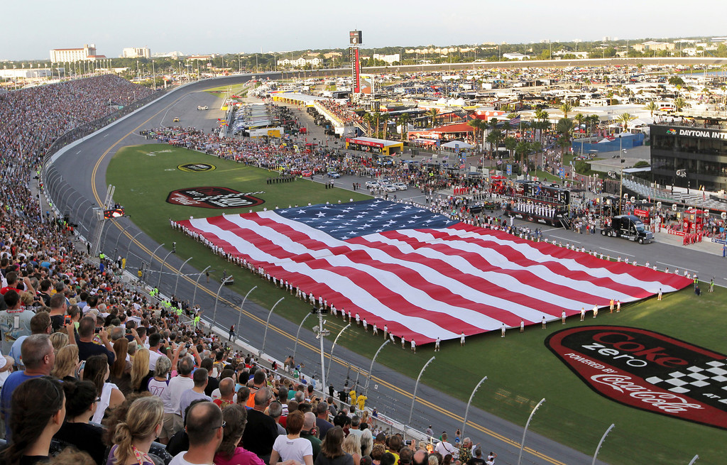 Description of . A giant U.S. is displayed in the infield during pre-race activities for the NASCAR Sprint Cup auto race at Daytona International Speedway, Saturday, July 6, 2013, in Daytona Beach, Fla. (AP Photo/David Graham)