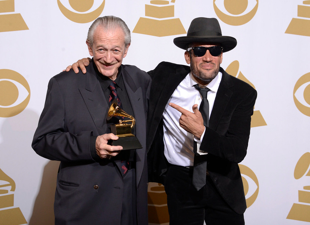Description of . Charlie Musselwhite, left, and Ben Harper pose with the best blues album award for