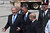 U.S. President Barack Obama (C) is greeted by Israeli Prime Minister Benjamin Netanyahu (L) and Defense Minister Moshe Ya'alon (2L) during an official welcoming ceremony on his arrival at Ben Gurion International Airport on March, 20, 2013 near Tel Aviv, Israel. (Photo by Marc Israel Sellem-Pool/Getty Images)