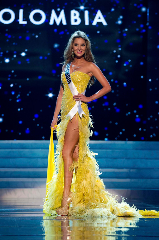 Description of . Miss Colombia 2012 Daniella Alvarez Vasquez competes in an evening gown of her choice during the Evening Gown Competition of the 2012 Miss Universe Presentation Show in Las Vegas, Nevada, December 13, 2012. The Miss Universe 2012 pageant will be held on December 19 at the Planet Hollywood Resort and Casino in Las Vegas. REUTERS/Darren Decker/Miss Universe Organization L.P/Handout