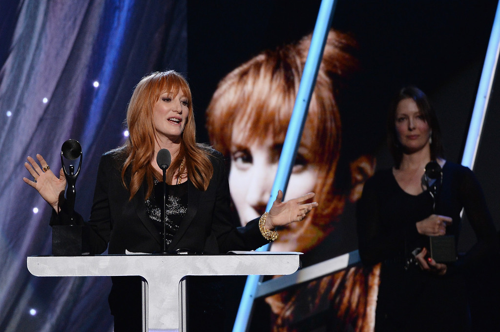 Description of . Inductee Patti Scialfa of the E Street Band speaks onstage at the 29th Annual Rock And Roll Hall Of Fame Induction Ceremony at Barclays Center of Brooklyn on April 10, 2014 in New York City.  (Photo by Larry Busacca/Getty Images)