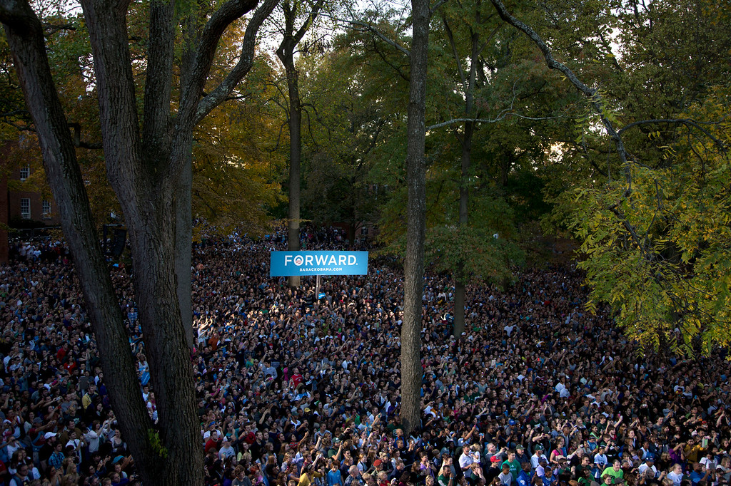 Description of . A crowd gathers as President Barack Obama speaks at a campaign event at Ohio University, Wednesday, Oct. 17, 2012, in Athens, Ohio. (AP Photo/Carolyn Kaster)