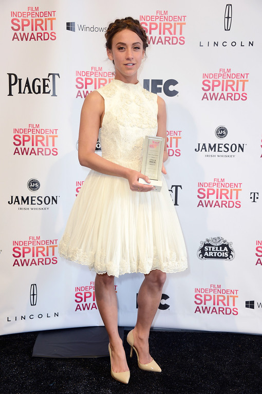 Description of . SANTA MONICA, CA - FEBRUARY 23:  Actress Stella Maeve poses with the Robert Altman Award for 'Starlet' in the press room during the 2013 Film Independent Spirit Awards at Santa Monica Beach on February 23, 2013 in Santa Monica, California.  (Photo by Frazer Harrison/Getty Images)
