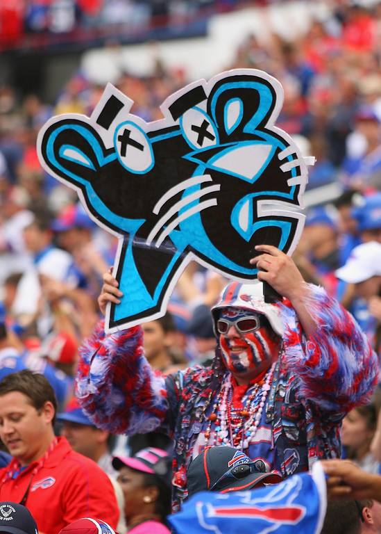 Description of . A Buffalo Bills fan shows his support against the Carolina Panthers at Ralph Wilson Stadium on September 15, 2013 in Orchard Park, New York. Buffalo won 24-23.  (Photo by Rick Stewart/Getty Images)