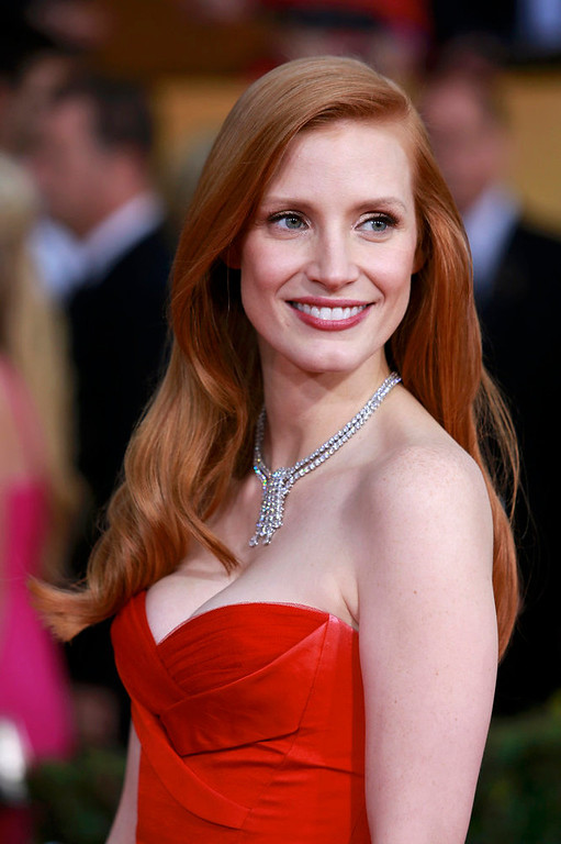 ". Actress Jessica Chastain, from the film ""Zero Dark Thirty,\"" arrives at the 19th annual Screen Actors Guild Awards in Los Angeles, California January 27, 2013.  REUTERS/Adrees Latif"